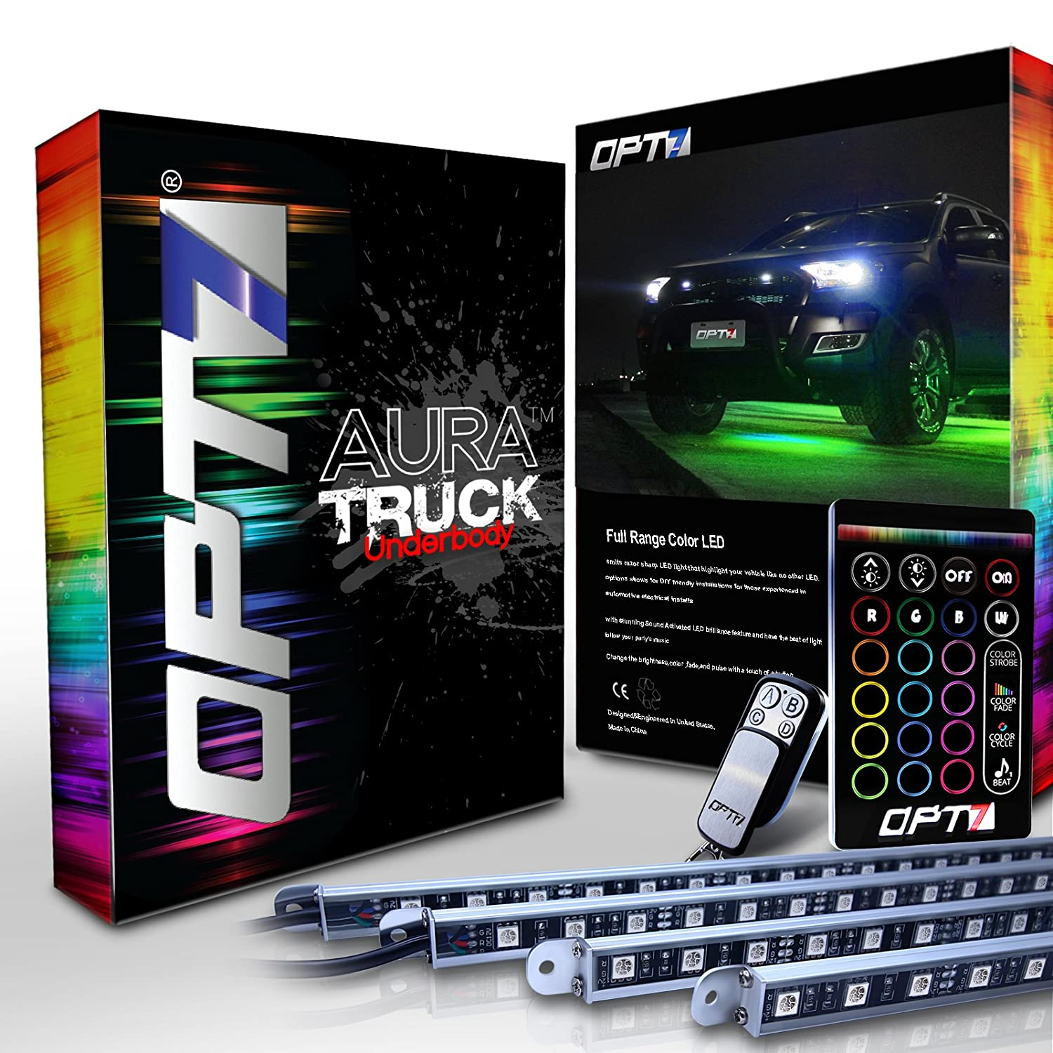 OPT7 Aura All-Color LED Underglow Lighting Kit with SoundSync Music - 4 Rigid Aluminum Waterproof Glow Bars SPOMHNK1107