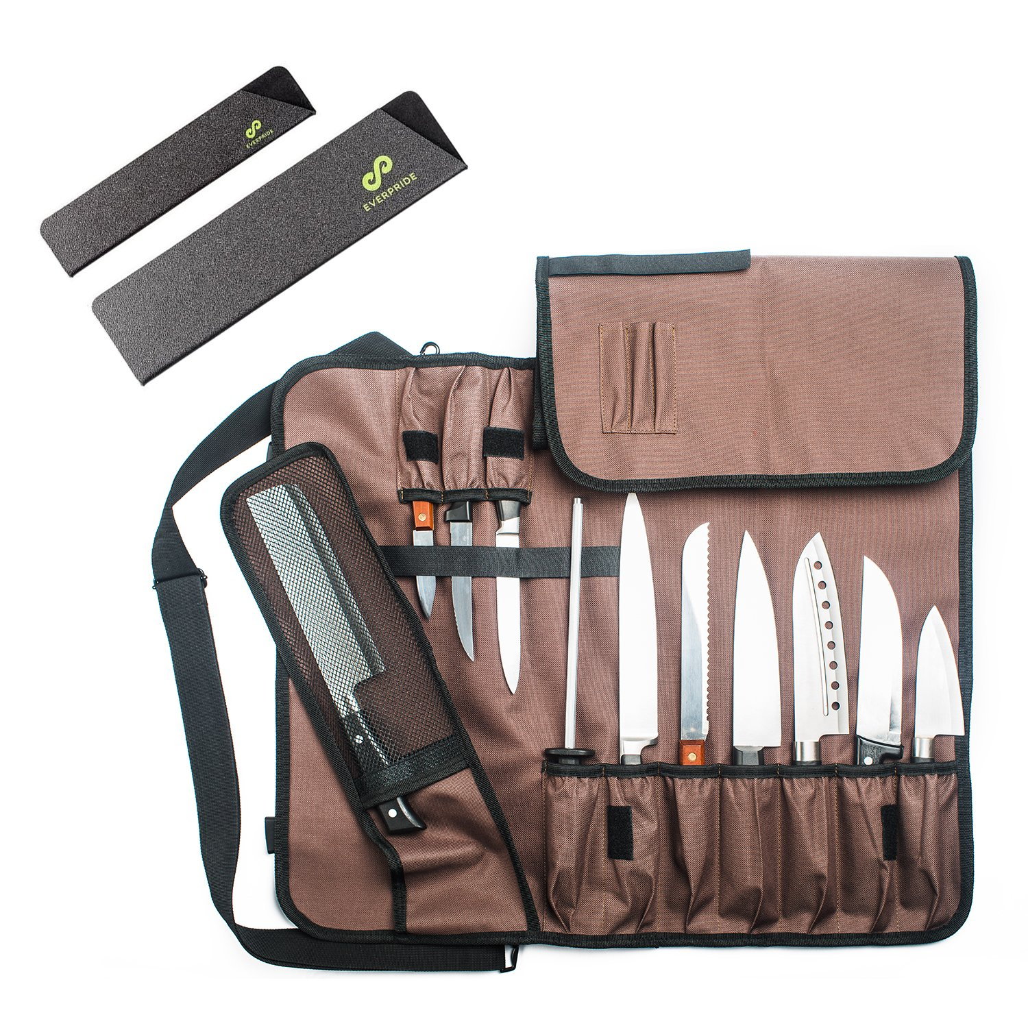 Chef Knife Roll Bag (14 Slots) | Knife Bag Holds 10 Knives, 1 Meat Cleaver And 3 Utensil Pockets | Includes 2 Knife Guards | Easily Carried by Shoulder Strap For Sous Chefs, Cooks, Culinary Students