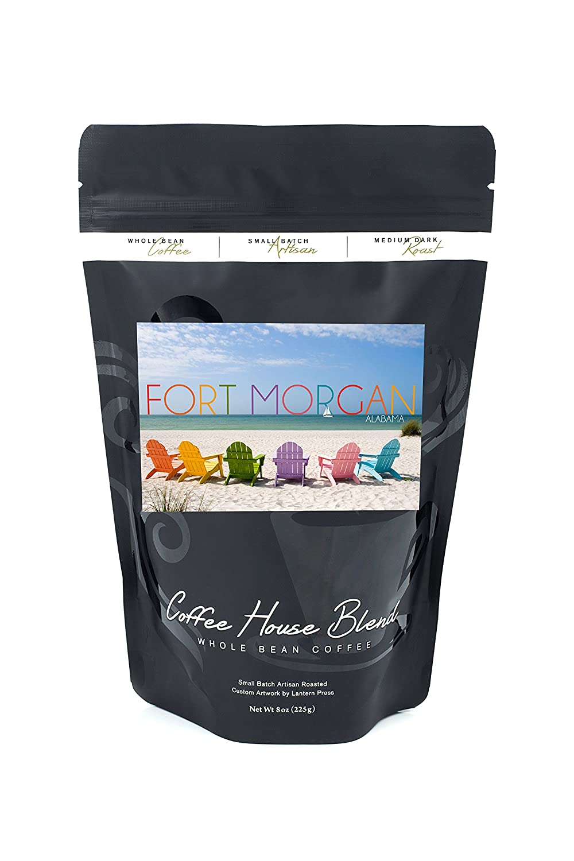 Fort Morgan Alabama Colorful Beach Chairs 8oz Whole Bean Small Coffee Kopi Batch Artisan Bold Strong Medium Dark Roast W Artwork Grocery