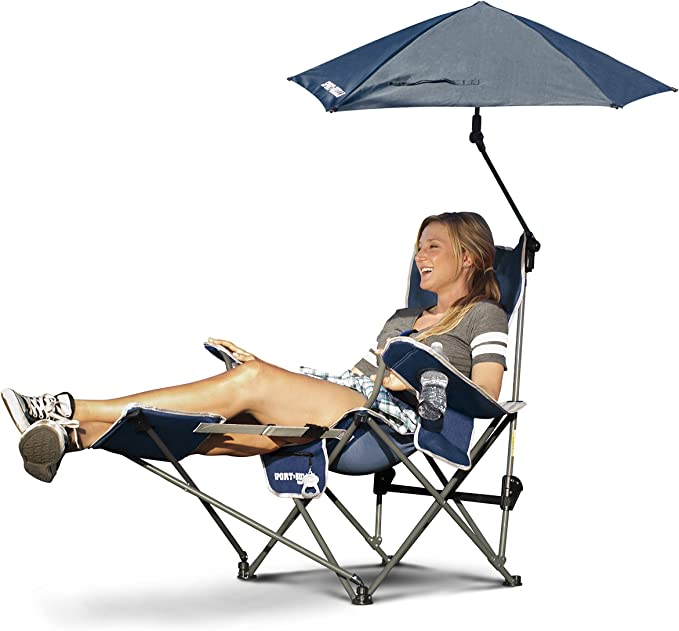 Sport-brella High Off The Ground Beach Chairs With Removable Umbrella