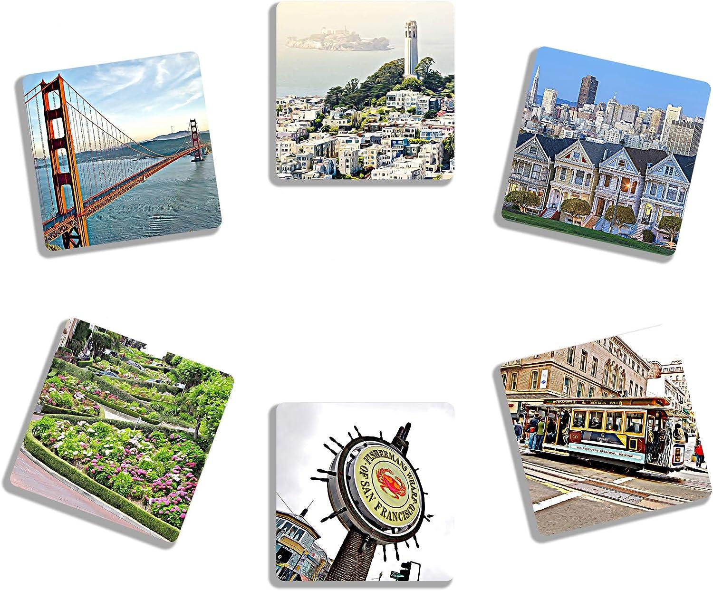 EXIT82ART - Rubber Drink Coasters (Set of 6). Iconic San Francisco Bay Area. Absorbent. Dishwasher Safe.