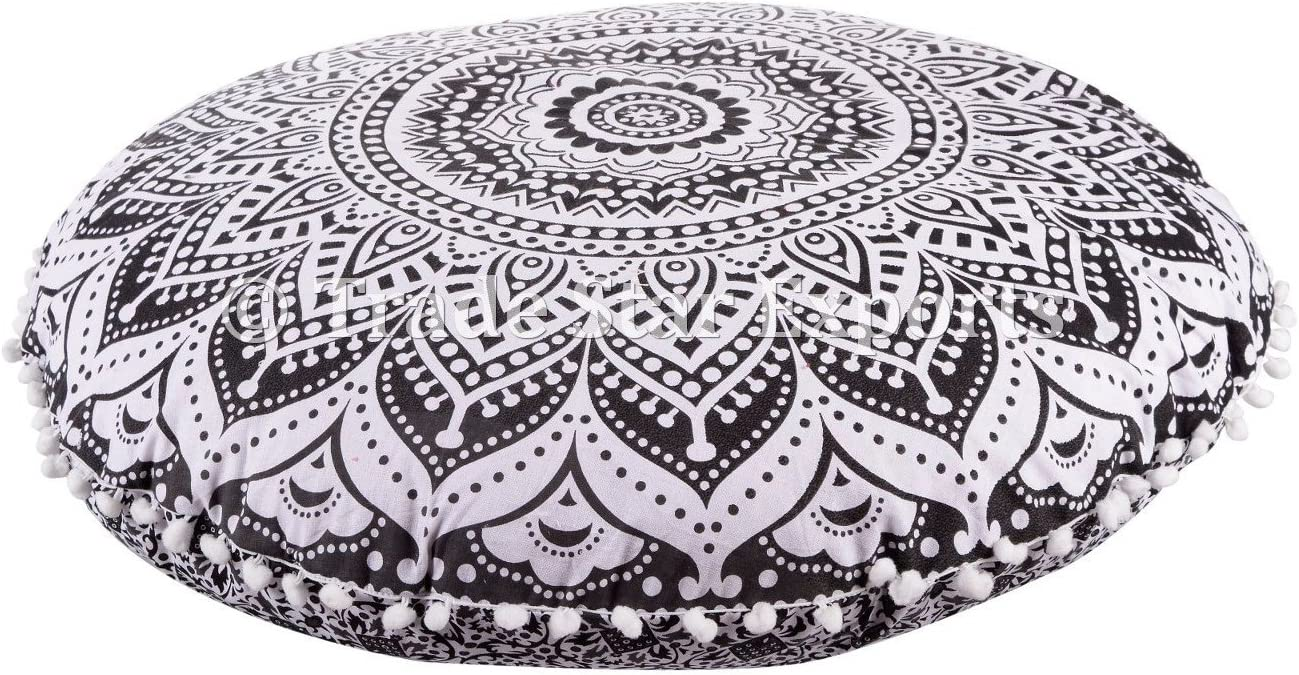 Trade Star Exports 32 Round Floor Pillow, Ethnic Large Cushion, Decorative Throw Pillow Cover, Meditation Cushions, Mandala Pillow Cases, Ottoman Poufs, Indian Pillow Shams with Insert Pattern 5