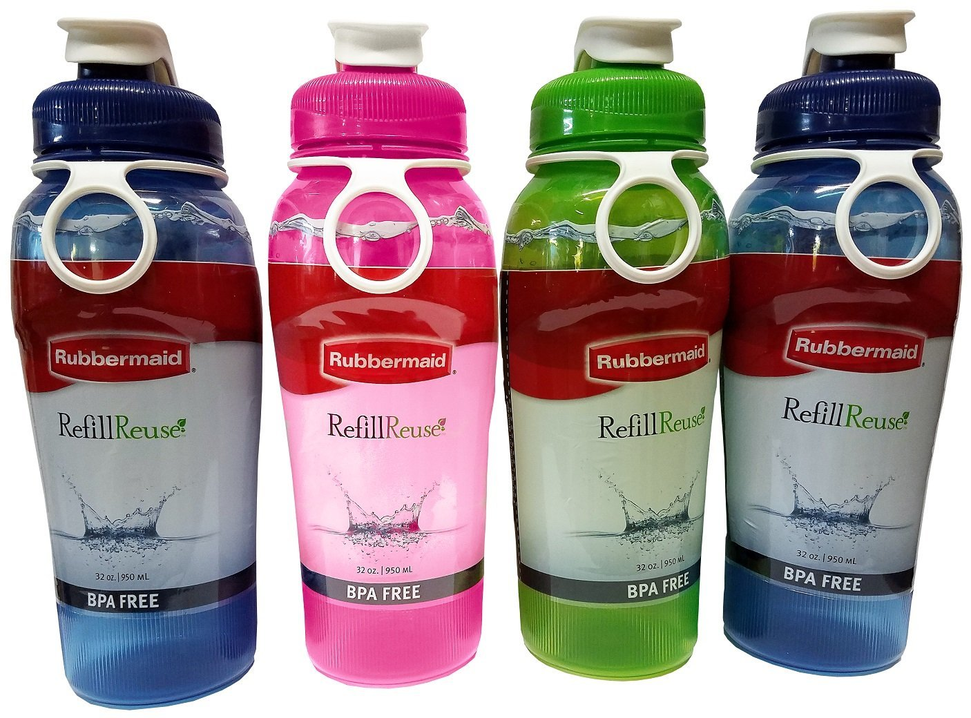 Rubbermaid COMIN16JU045249 714270015007 Refill, Reuse 32-Ounce Jumbo Size  Chug, Assorted Colors, Pack of 4 Bottles, 32 Ounce