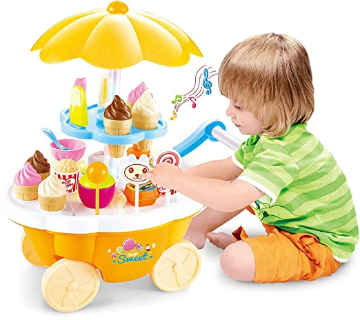 Toyshine Ice Cream Kitchen Play Cart Kitchen Set Toy with Lights and Music, Yellow Kitchen Playsets at amazon