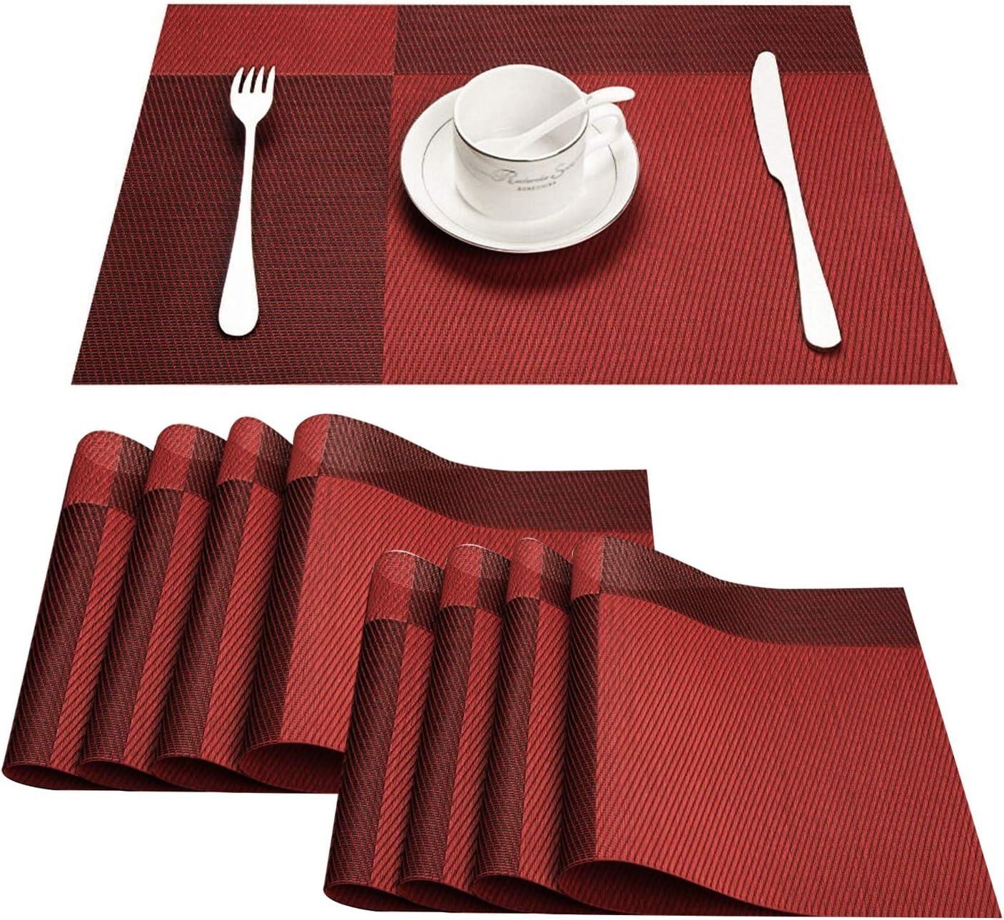 Topfinel Manteles Individuales de Mesa Vintage Plastico Rectangular de Restaurante de Material PVC para Comedor 30x45cm,4 Unidades,Rojos