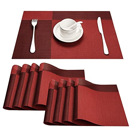 TOP Marques Collectibles Top Finel Umweltfreundlich Bambus Abwaschbar PVC Platzmatten-Set Tischsets Platzdeckchen Tischmatte