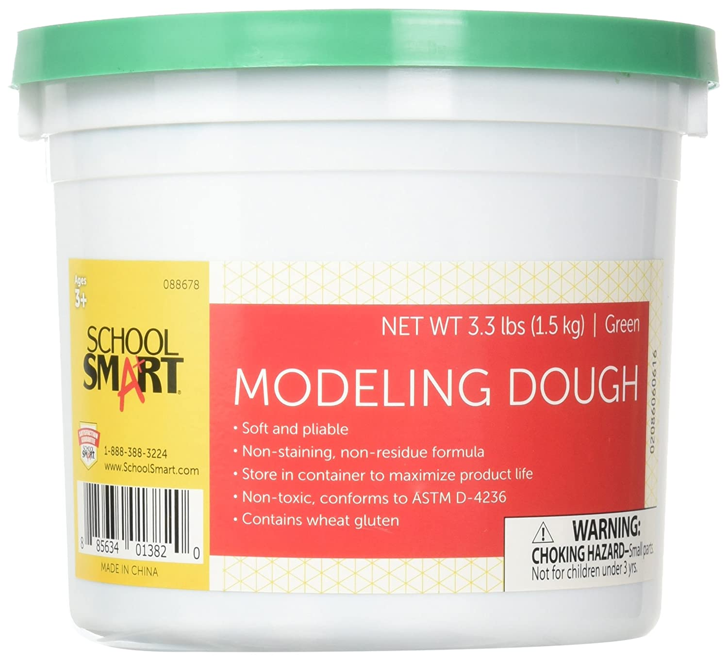 School Smart 88678 Non Toxic Modeling Dough - 3 1/3 pounds - Green School Specialty 088678