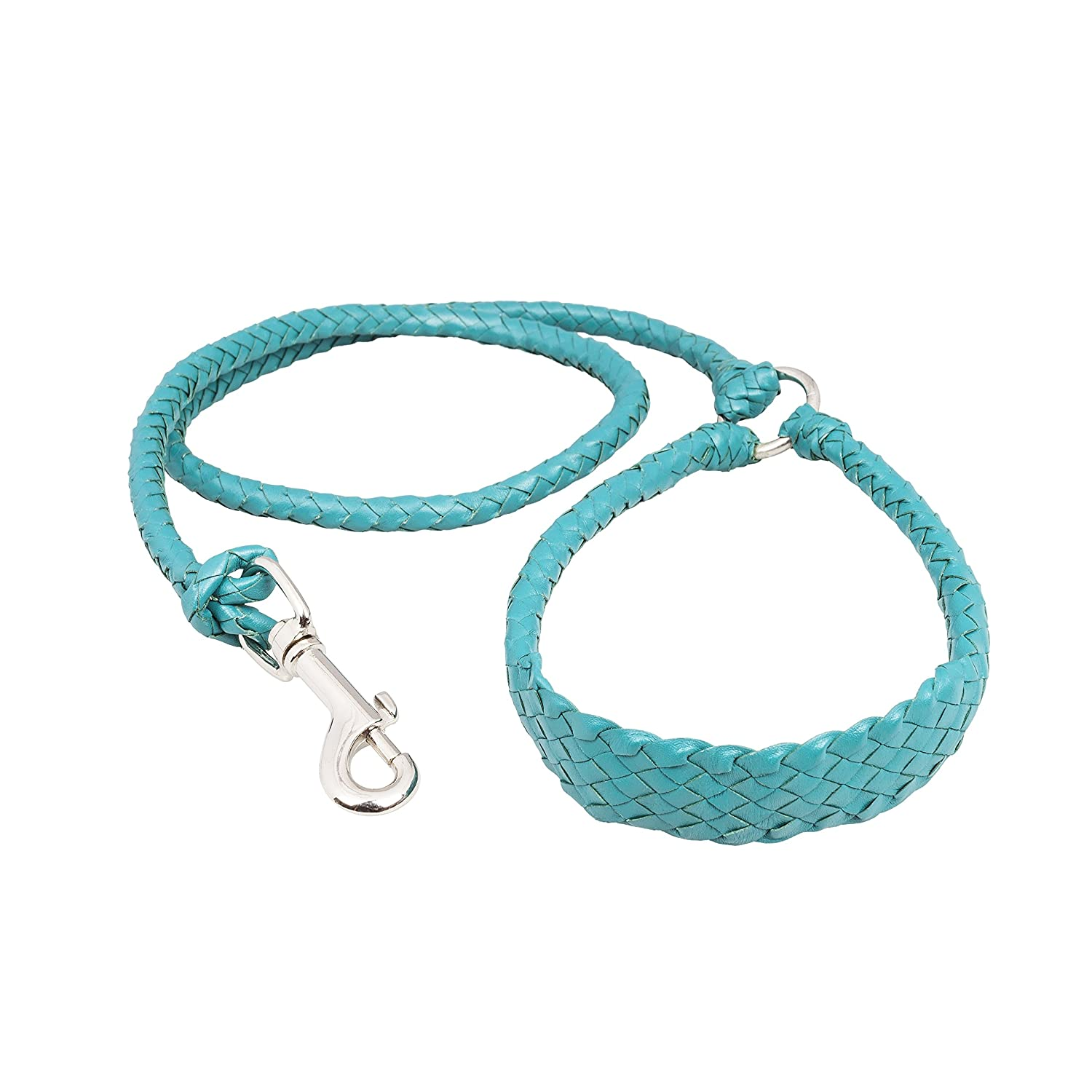 Teal 35\ Teal 35\ Braided Leather Dog Leash Kangaroo Leather Soft Light Strong (35    90cm, Teal)