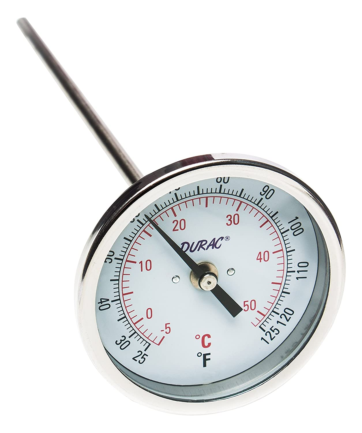 75mm Dial NPT Threaded Connection 1//2 in Bel-Art Products H-B DURAC Bi-Metallic Dial Thermometer; 0 to 50C 25 to 125F B61310-9000