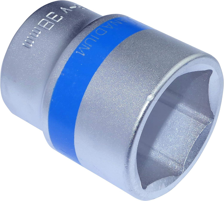 AERZETIX - Llave de vaso 3/4x38mm con huella 6 lados Allen - Punta corta - para Llave/Trinquete Manual/Neumático - Cuerpo Cilíndrico - Hexagonal/Herramienta manual - Acero CR-V - Plata - C46031