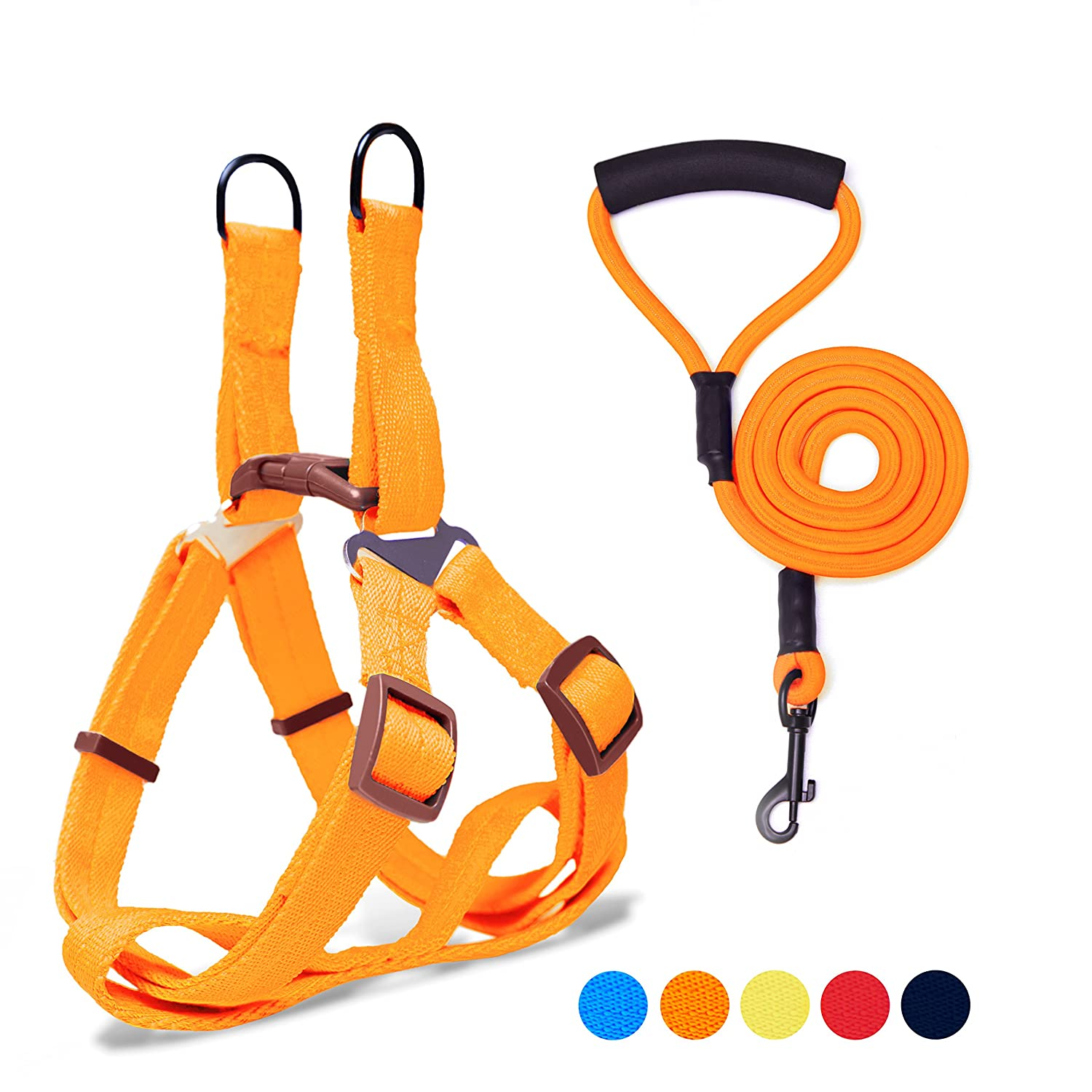 orange S(12''-16'' Chest Girth) orange S(12''-16'' Chest Girth) Adjustable Dog Harness Anti-Twist Dog Leash Set for Small Medium Large Dogs, Soft and Durable Vest Harness Leash for Daily Training Walking Running and Easy Control