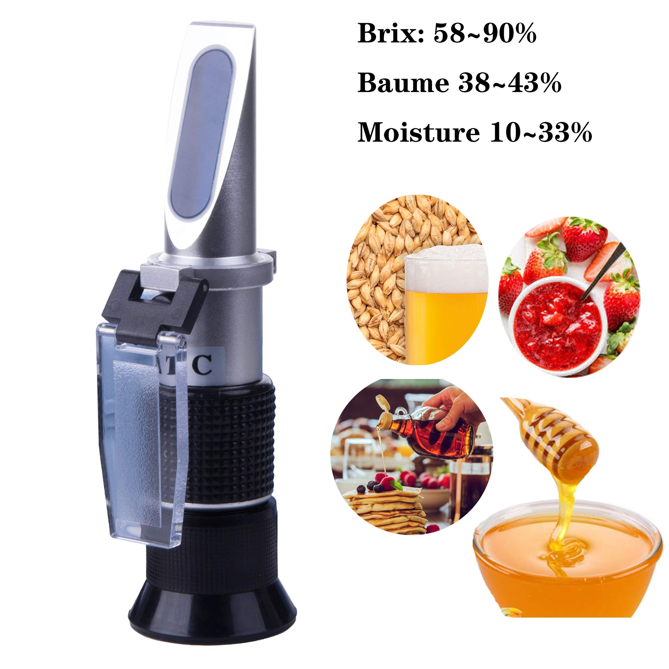 Logic box Sucrose Refractometer for Honey Moisture, Brix and Baume, 3-in-1 Uses, 58-90% Brix Tester with ATC, Ideal for high Sugar Maple Syrup, and Molasses, Malt,Bee Keeping Supplies
