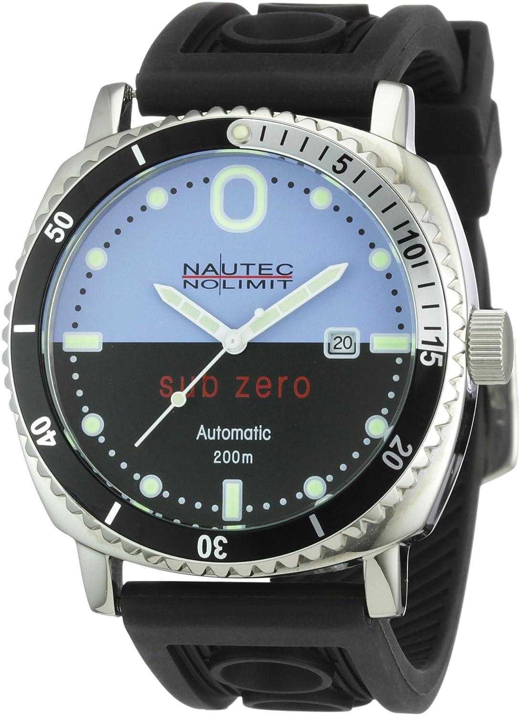 Nautec No Limit Herren-Armbanduhr Sub Zero SZ Analog Automatik AT-RBSTSTBKBL