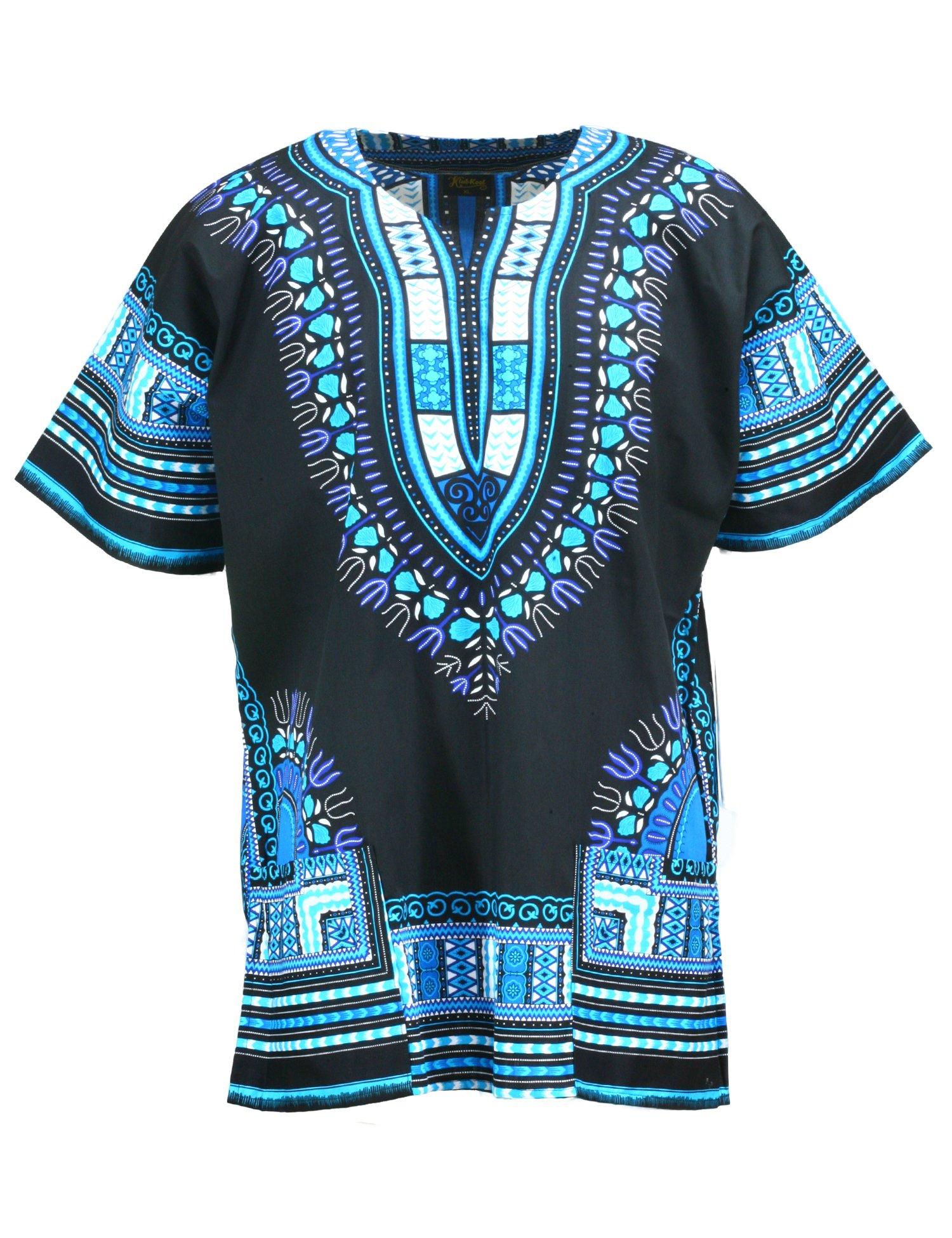KlubKool Dashiki Shirt Tribal African Caftan Boho Unisex Top Shirt (Black/Light Blue,3X-Large)