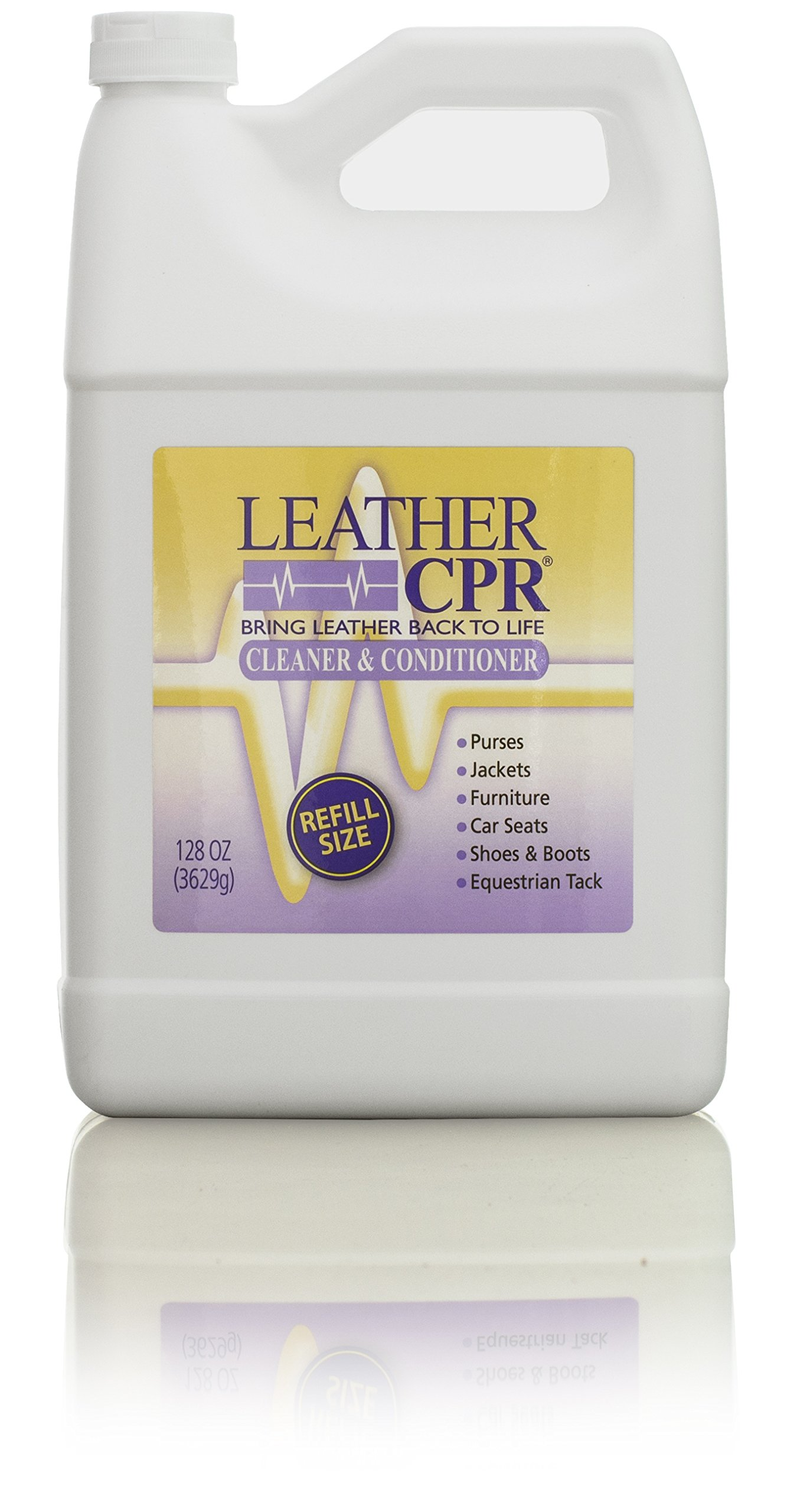 Leather CPR Cleaner & Conditioner, 128 oz, Bring Leather Back to Life! Best Leather Cleaner & Conditioner on the Market. Only Leather Cleaner & Conditioner that is Dermatologist Tested. USA Made by CPR Cleaning Products (Image #1)