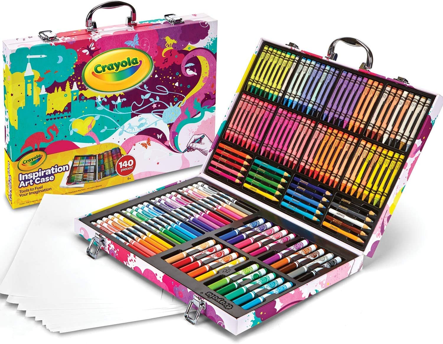 Crayola Inspiration Art Case Coloring Set, Gift for Kids Age 5+, Pink, 140 Count: Toys & Games