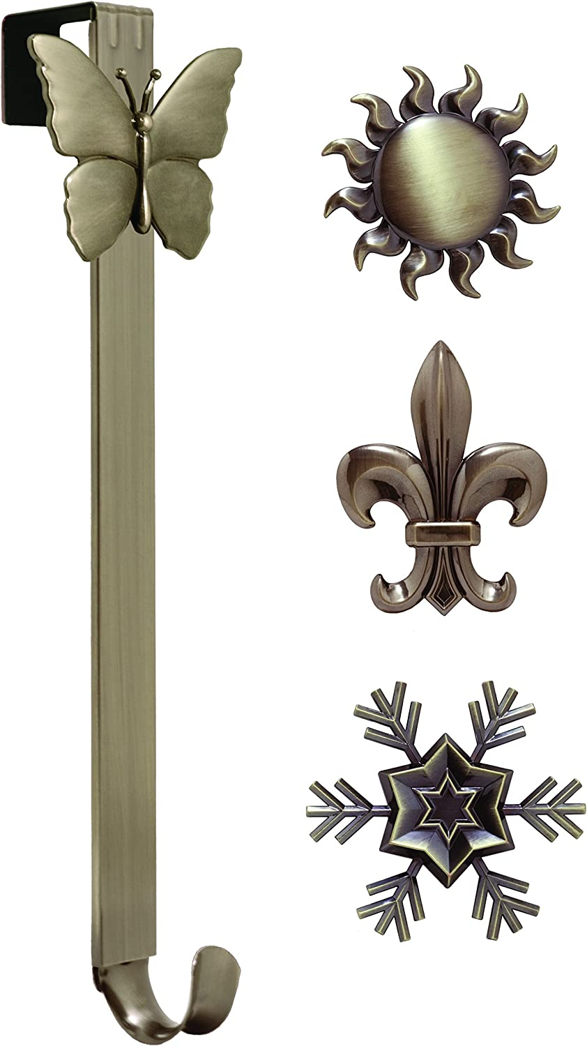 Haute Decor Adapt Adjustable Length Wreath Hanger with Interchangeable Icons (Oil-Rubbed Bronze-Sun/Snowflake/Butterfly/Fleur de lis)