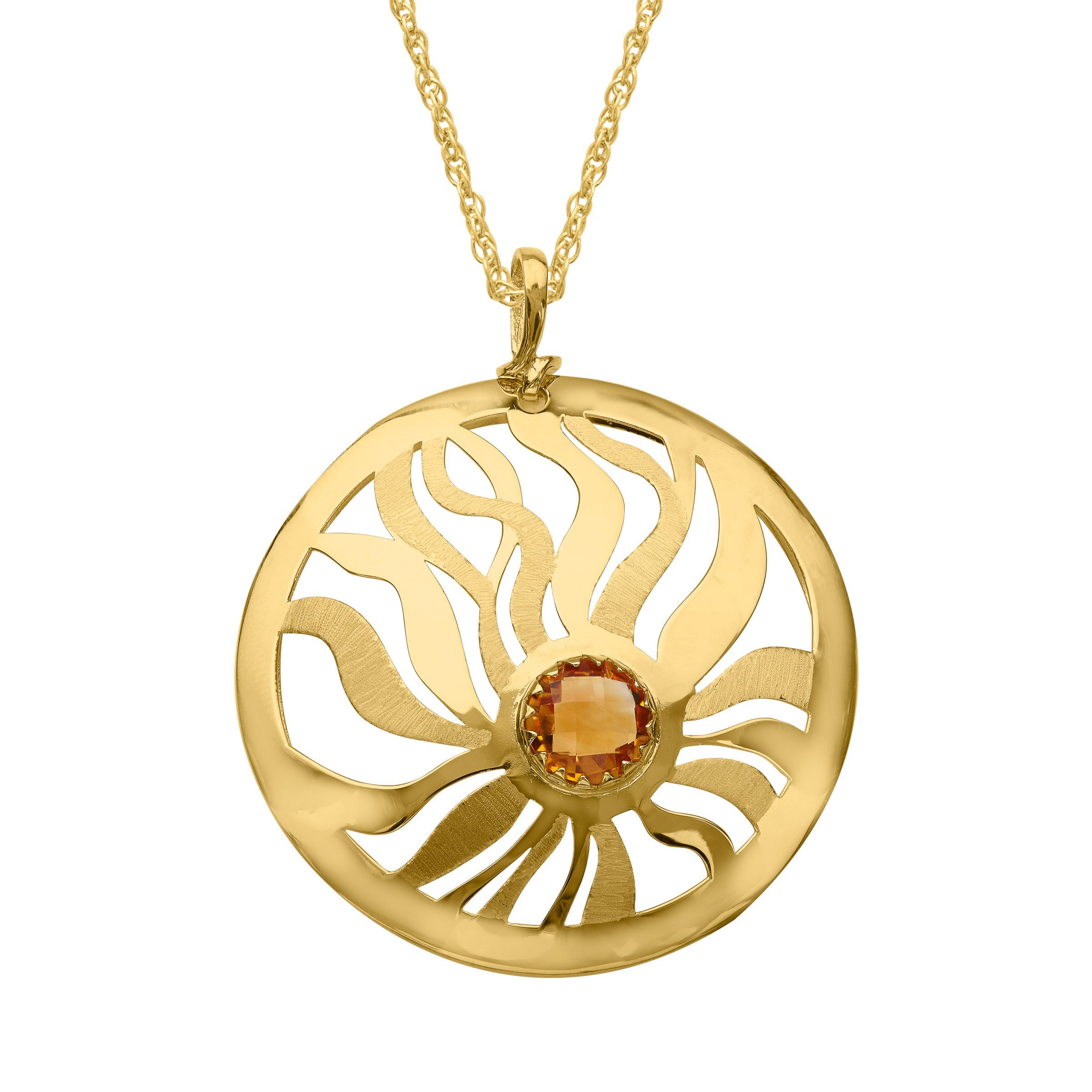 1 3/4 ct Natural Citrine Medallion Pendant Necklace in 14K Gold