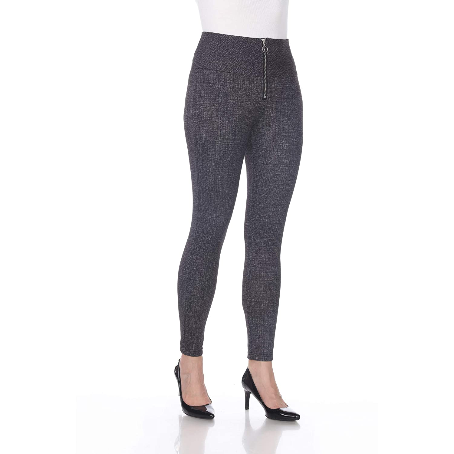 2772471854 Blue Sunset Women's Grey Front Zipper Mesh Lined Ponte Pant Full Length  Leggings