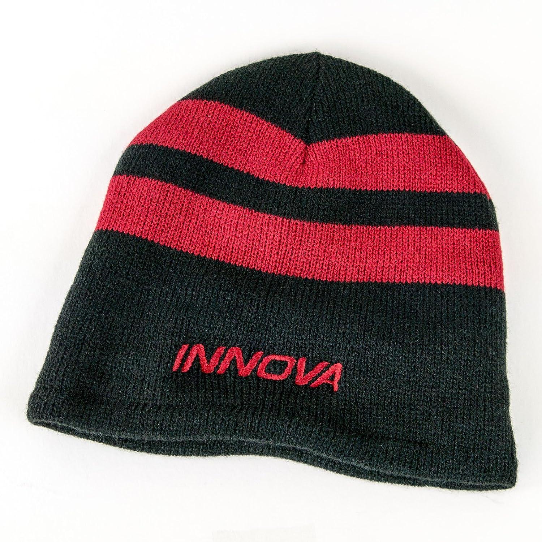 cfe6b4019d3 Innova striped knit fleece lined beanie winter disc golf hat black gray  sports outdoors jpg 1500x1500