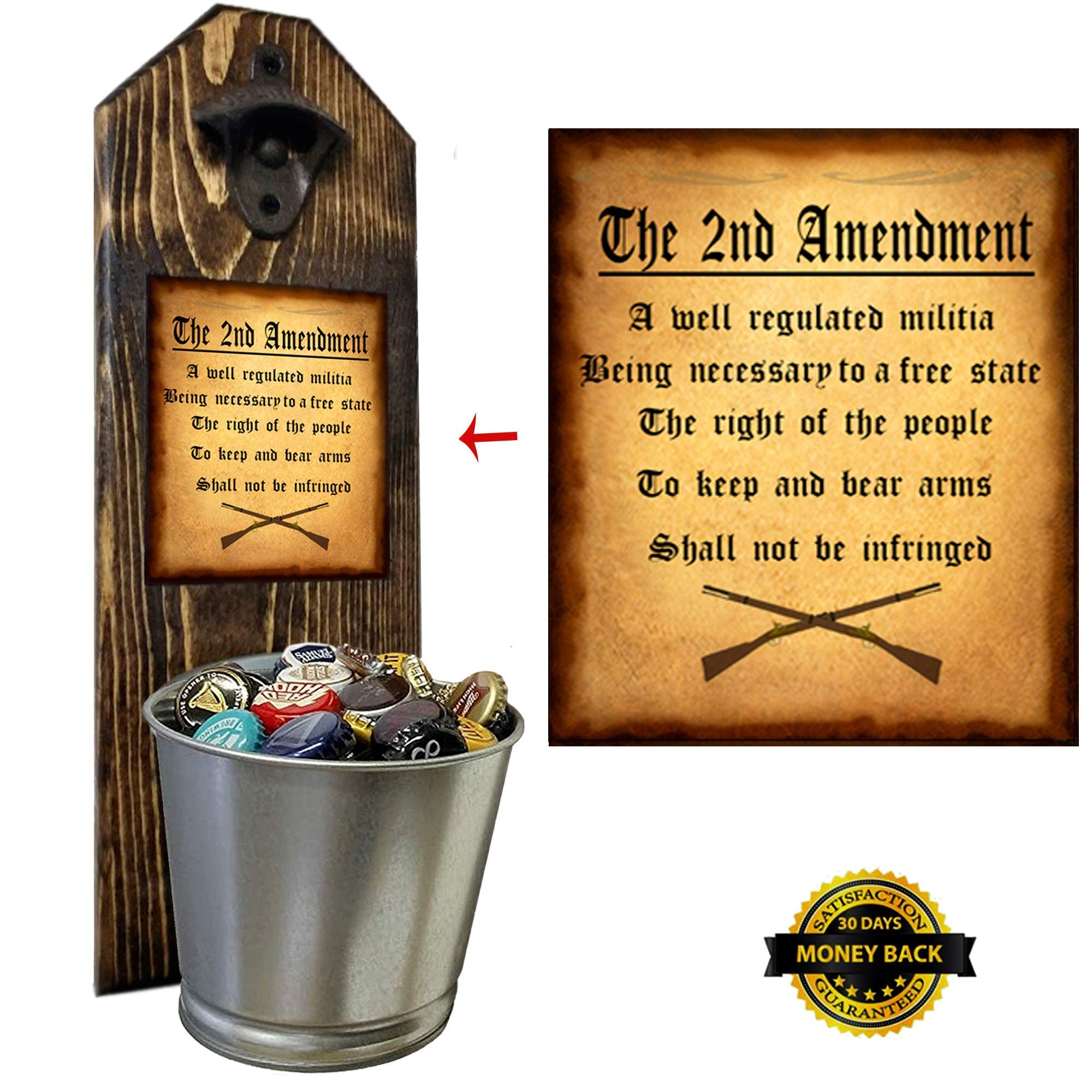 ''2nd Amendment'' Bottle Opener and Cap Catcher - Wall Mounted - Handcrafted by a Vet - Made of 3/4 thick Solid Pine, Rustic Cast Iron Opener and Galvanized Bucket - Great Dad Gift! by CherryPic Junction (Image #1)