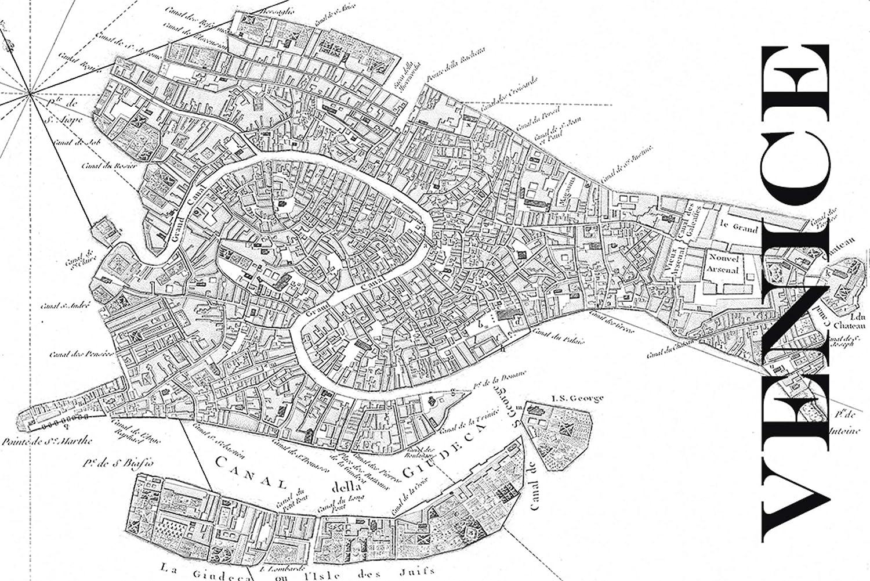Artland Qualitätsbilder I Wandbilder Selbstklebende Wandfolie Städte Italien Venedig Digitale Kunst Schwarz Weiß H8EQ Venedig Karte - Straßen Karte - Vintage - Schwarz und Weiß