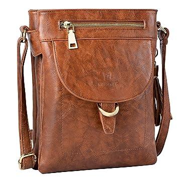 7c84e68d28a615 Umhängetasche Damen, Fanspack Handtasche Damen Leder Schultertasche Casual  Crossbody Messenger Tasche Abendtasche (Brown)