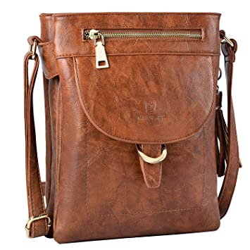 verrückter Preis gute Textur heiß-verkaufender Fachmann Umhängetasche Damen, Fanspack Handtasche Damen Leder Schultertasche Casual  Crossbody Messenger Tasche Abendtasche (Brown)