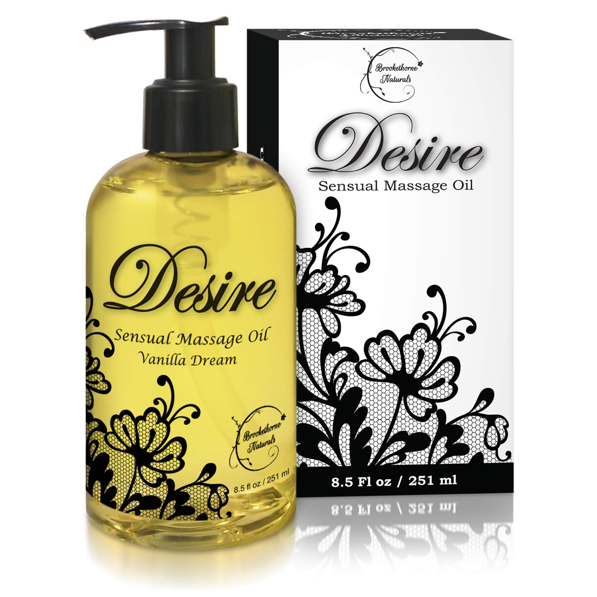 Desire Sensual Massage Oil - Best Massage Oil for Couples Massage - Perfect Gift for Her - All Natural - Contains Sweet Almond, Grapeseed & Jojoba Oil for Smooth Skin 8.5oz by Brookethorne Naturals
