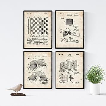 Nacnic Vintage Pack De 4 Laminas Con Patentes De Juegos Infantiles