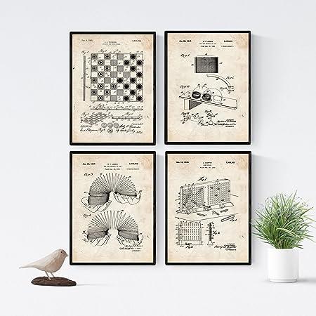 Nacnic Vintage - Pack de 4 Láminas con Patentes de Juegos ...