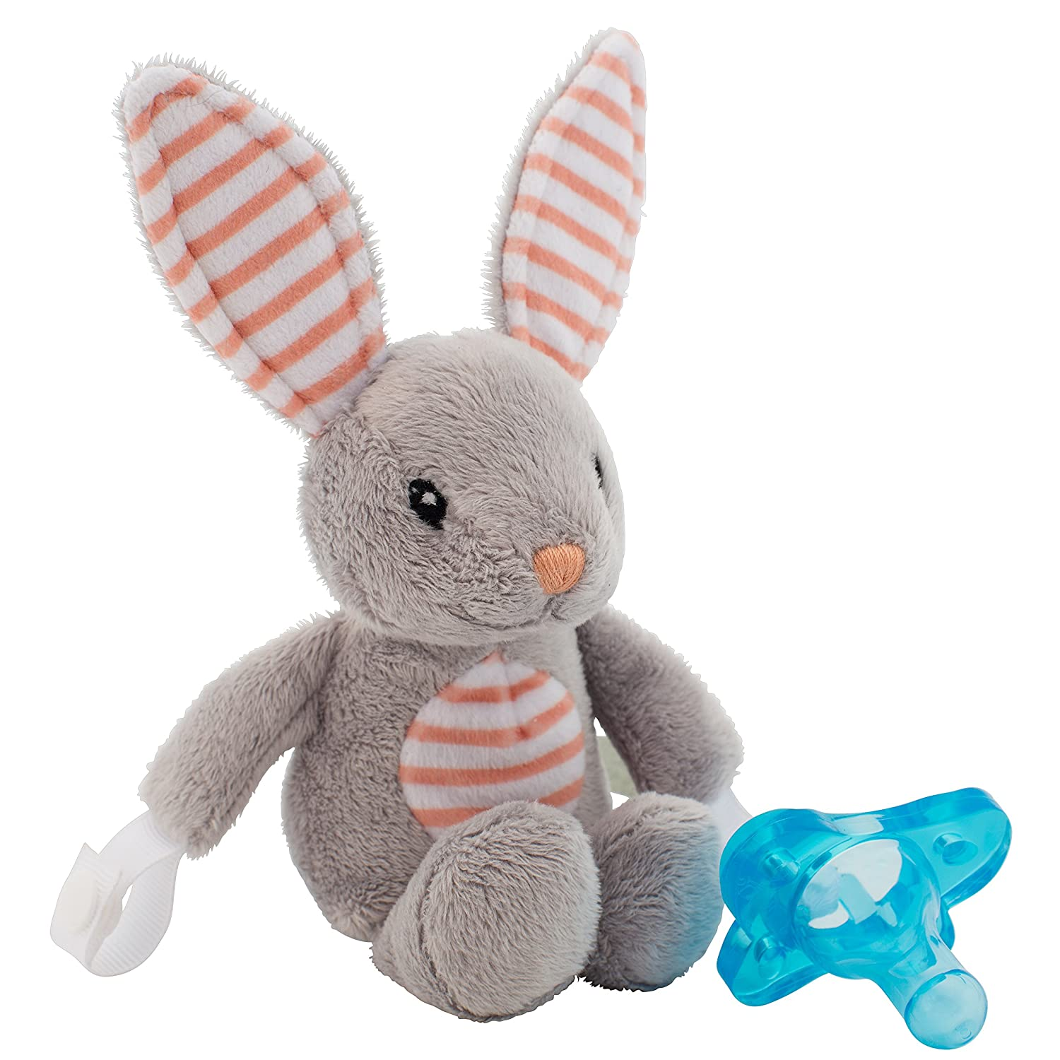 Amazon.com : Dr. Browns Lovey Pacifier and Teether Holder, 0 Months Plus, Bunny with Blue Pacifier : Baby