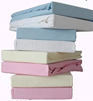 2x Travel Cot Fitted sheets - White Size= 95 x 65 cm 100/% Cotton Soft Jersey