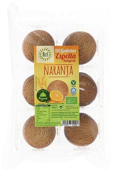 Sol Natural 700904, Galletas de Espelta con Sirope de Agave y Naranja, 200 gr