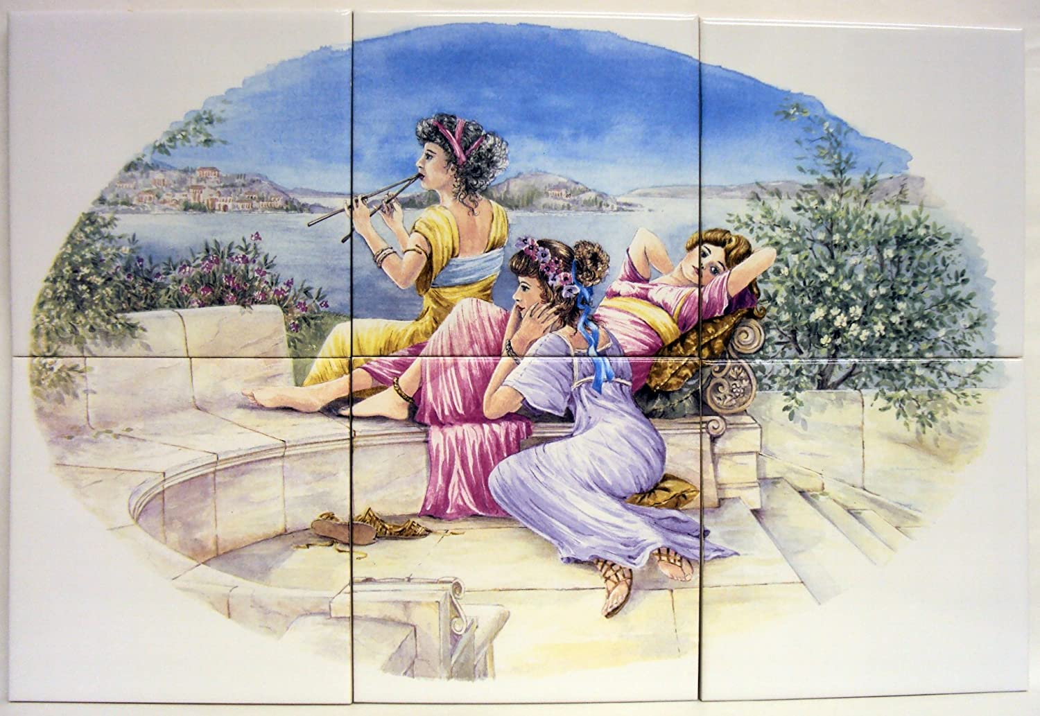 Rainbow Decors Ltd Greek Ladies Tile Panel 6 Tiles 15 Cm X 15 Cm 6 Inches X 6 Inches Classic Style Bathroom Tile Mural Hand Made In The Uk Free Uk