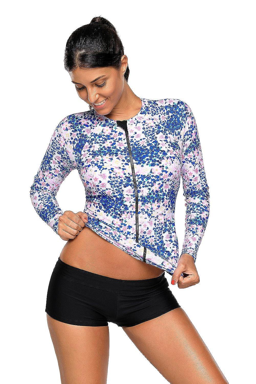 Mujeres Traje de Manga Larga Floral Rashguard UV Protecci/ón Camiseta Ba/ñador para Buceo Nataci/ón Surf
