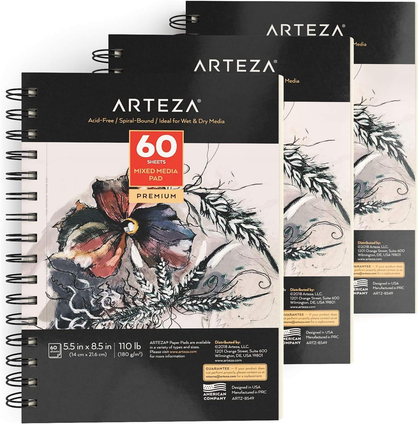 croquis dessin et peinture pour supports humides et secs 180 g//m/² Carnet de croquis pour m/édias mixtes Arteza 14x21,6 cm micro-perfor/é 60 feuilles reliure spirale