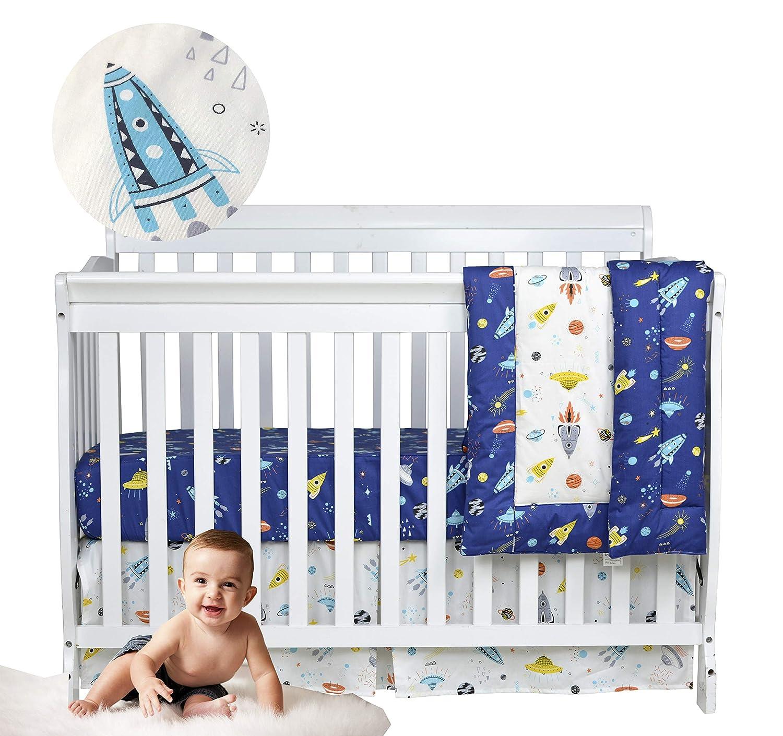 Brandream Baby Boys Crib Bedding Sets Outer Space, Rocket & Planet Nursery Bedding Set,3 Piece Baby Infant Newborn Crib Comforter Sets 100% Cotton, Navy/White