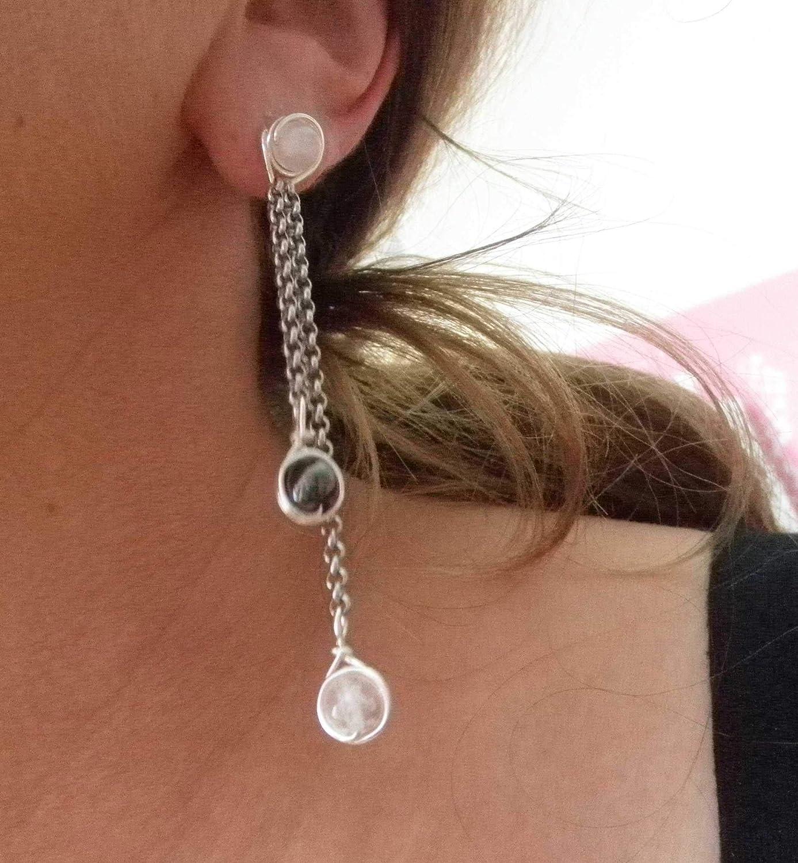 Ohrringe Slinky - Edelsteine Bergkristall und Hämatit