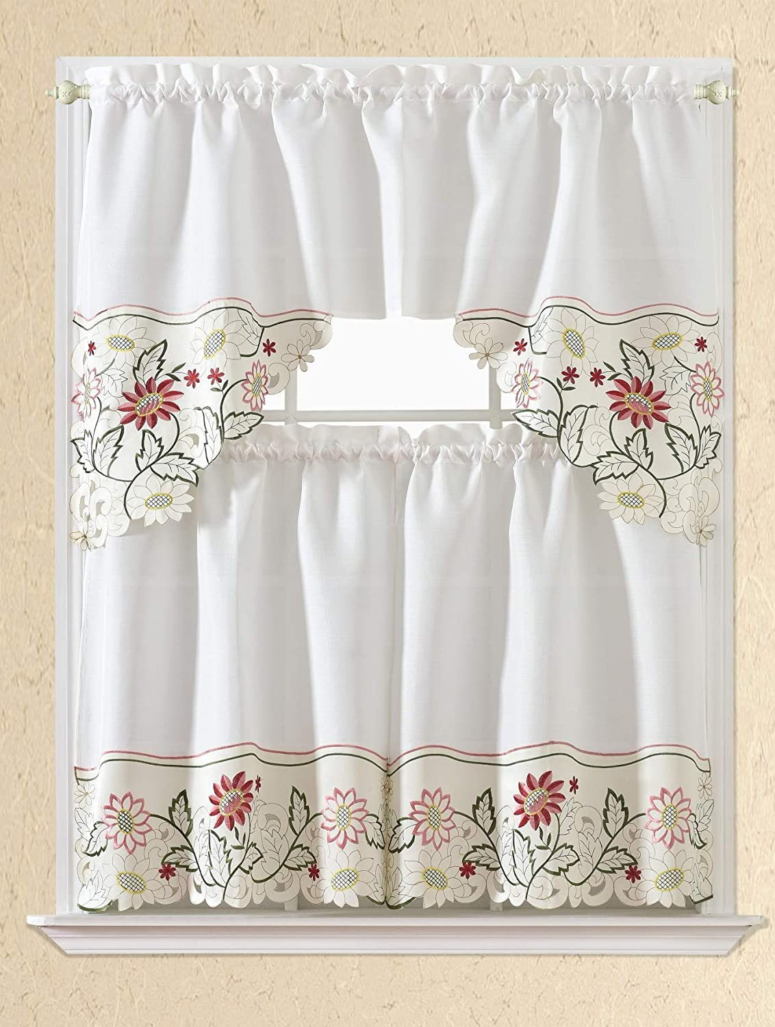 3PC Kitchen Window Curtain Set Embroidery Design,Set Includes 2 Tiers and 1 Valance Available in Multiple Designs