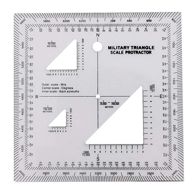 GOTICAL Military UTM/MGRS Coordinate Scale – Map Reading and Land Navigation – Topographical Map Scale, Protractor and Grid Coordinate Reader – Pairs with Compass and Pace Counter Beads Military Map