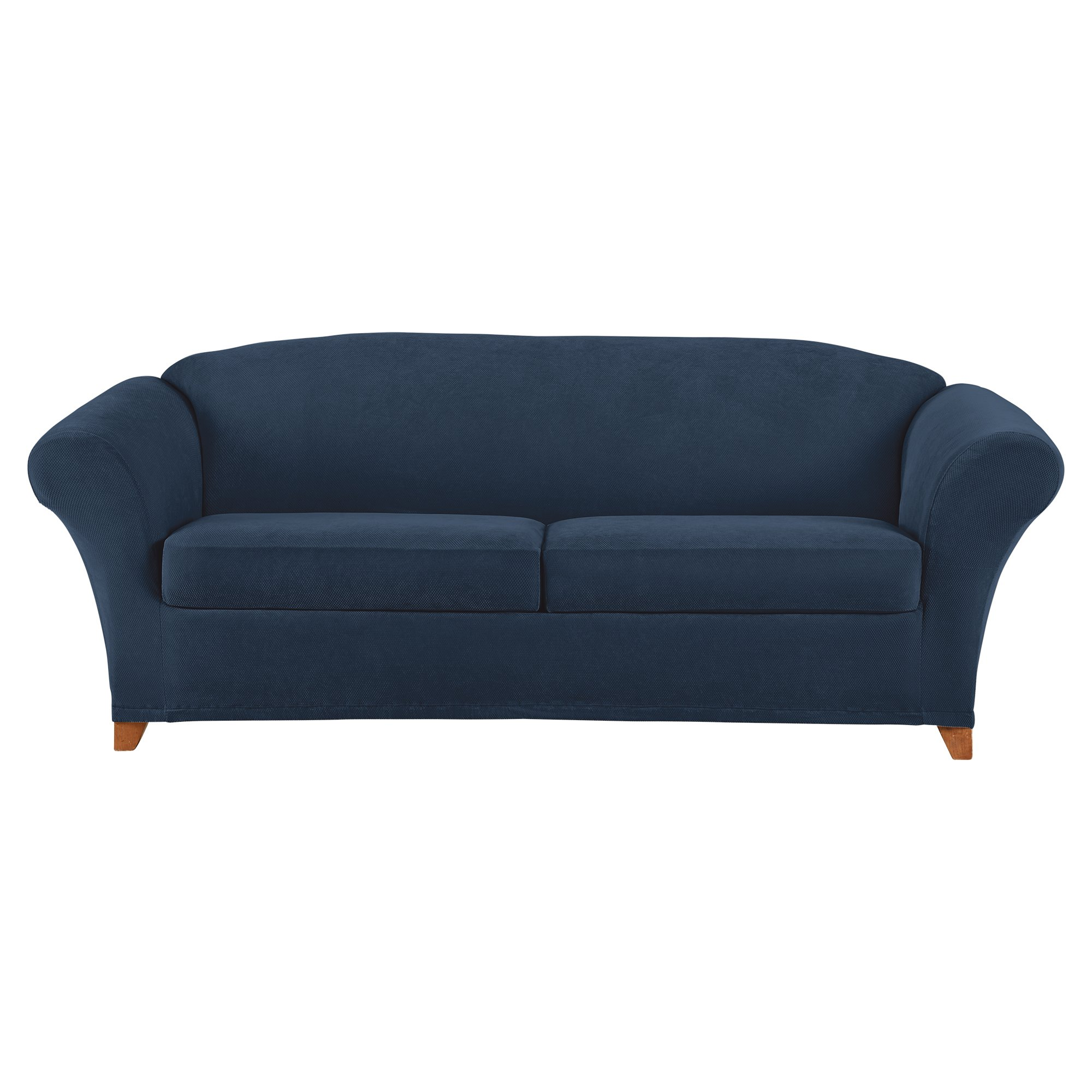Sure Fit Stretch Pique 2 Seat Individual Cushion Sofa Covers - Navy (SF46904)