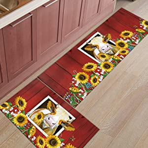 DraQueen Non-Slip Rubber Backing Kitchen Carpet Set Farm Animal with Sunflower, Standing Mat for Baby Crawling/Bathroom/Living Room/Gate/Any Entrance Red Stripes Barn Backdrop