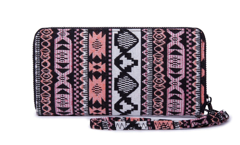 LIKEWE Women Pink Stripe Wallet Zip Around Clutch Wallet Large Travel Purse (FB-TT-168) by LIKEWE (Image #4)