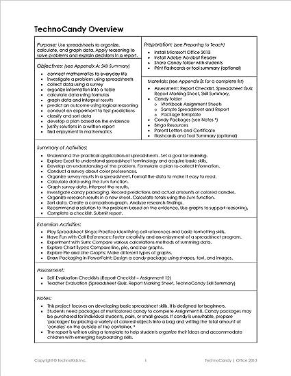 Amazon com : TechnoCandy: Spreadsheet Curriculum Unit for