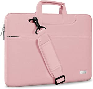 "Hseok Laptop Shoulder Bag 13 13.3 13.5 Inch Briefcase, Compatible 13.3 MacBook Air/Pro, XPS 13, Surface Book 13.5"" Spill-Resistant Handbag with Shoulder Strap for Most 13""-13.5"" Notebook, Pink"