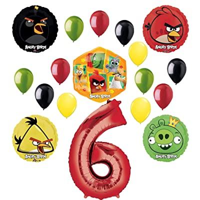 Angry Birds 2 Party Supplies 6th Birthday Balloon Bouquet Decorations: Toys & Games