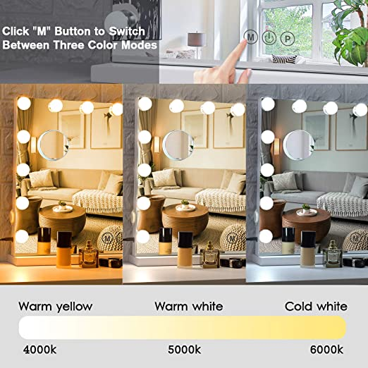 White Smart Touch Control 3 Color Lighting Modes Tabletop Mirror for Dressing Room /& Bedroom Large Hollywood Lighted Makeup Mirror 14 Dimmable LED Bulbs BWLLNI Vanity Mirror with Lights