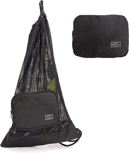Strong Mesh Bag with Shoulder Strap for Scuba Diving Snorkel Equipment Black
