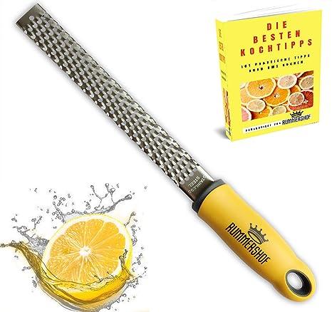 Rallador de Limón y Cítricos - Queso - Parmesano - Jengibre - Nuez Moscada - Rallador Universal (Amarillo, Acero Inoxidable)